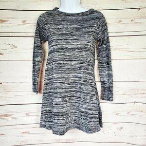 Zara Trafaluc Gray Striped Long Sleeve Dress S